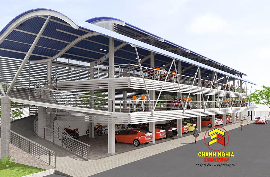 Thi công nhà để xe mái vòm tại Thủ Dầu Một Bình Dương
